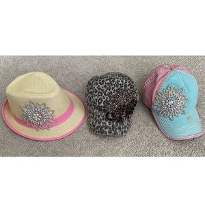 Accessories - Lot of 3 Bling Rhinestone Trucker Hats Fedora